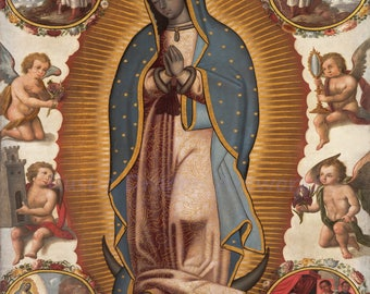 Virgin of Guadalupe 1700  Reproduction Digital Print  Wall Hanging Blessed Virgin Mary Lady of Guadalupe Catholic Mexico