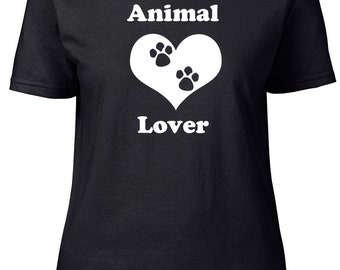 Animal Lover. Pets. Ladies semi-fitted t-shirt.