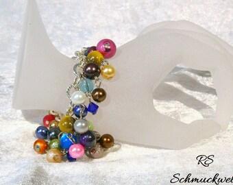 Bracelet, charm bracelet, Bead Bracelet, hippie, BoHo, beads, multi colored, Rainbow, ethno, statement, link bracelet, beads round Pearl rain,.