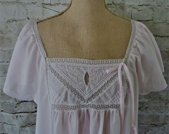 Nightgown midlength nightie  Bernette of New York Vintage pink white lace