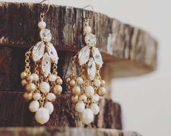 Boho earrings, boho bridal accessories, statement earrings, boho jewelry, big pearl earrings, gold bridal earrings, boho bride, boho wedding
