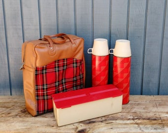 Vintage Plaid Thermos Set - Vintage Thermos - Plaid Picnic Set - Red Plaid - Cottage - Farmhouse