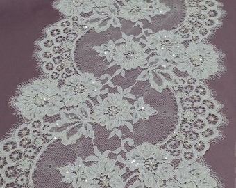 Beaded ivory lace trimming, Sequin lace trim, Pearl lace, French lace trim Chantilly lace, Bridal lace, Wedding lace, White lace, EVSL031CB