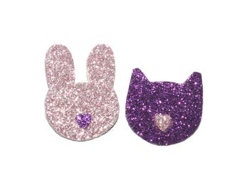 Small rabbit and cat, pink and purple glitter brooches