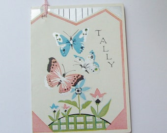 Vintage bridge tally card butterflies and flowers pink and blue trifold booklet style scorecard ephemera