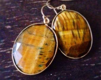 Tigers eye Earrings - Gold Jewelry - Brown Gemstone Jewellery - Fashion - Chunky - Bezel