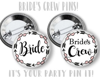 Black and Pink Bride's Crew pinback buttons Bachelorette Party Favors Bridal Shower Party Favors 2.25 inch Pinback Buttons pins Badges