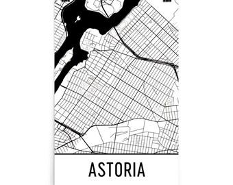 Astoria Map, Astoria Art, Astoria Print, Astoria NY Poster, Astoria Wall Art, Map of Astoria, Astoria Gift, Astoria Decor, Astoria Map Art