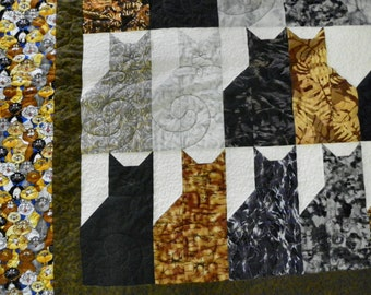 Cat lovers twin topper or sofa quilt 49x85