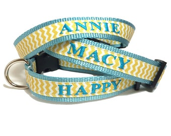 Embroidered Dog Collar- Personalized with name and phone- Yellow Chevron for Spring