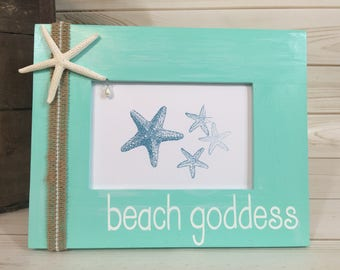 Beach picture frame vacation frame coastal frame starfish frame beach gift custom picture frame beach decor nautical frame 4x6 beach frame