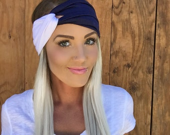 Navy + White Turban || Vintage Style Dallas Headband Workout Yoga Fashion Navy Blue White Texas Hair Band Scarf Band Accessory Woman Girl