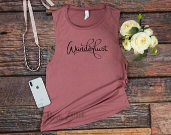Wanderlust - Women flowy scoop muscle tank / Women's muscle tank / summertime tank / Wanderlust tank top / travel tank top / summer muscle