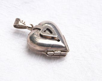 Heart Locket 4 Photo Sterling Silver Pendant Vintage Mexican Jewelry Lucky in Love Clover Hecho en Mexico