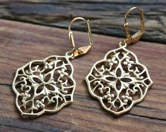 Gold Filigree Fashion Earrings, Boho Wedding, Moroccan Filigree Earrings, Gold Bohemian Filigree Medallion Dangle Earrings, Bridesmaid Gift