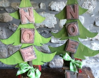 Wooden Reversible Christmas Tree Table Decoration