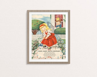 "Digital Mary, Mary, Quite Contrary nursery rhyme poster / 8"" by 10"" / downloadable, printable / vintage Mother Goose digital print / art"