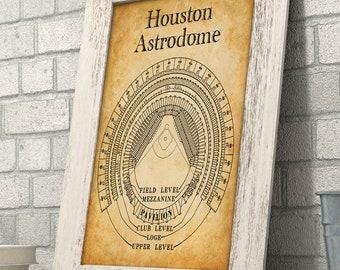 Astrodome etsy houston astrodome stadium seating chart art print 11x14 unframed art print great sports bar malvernweather Choice Image