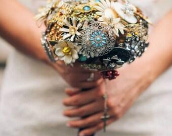 Vintage Brooch Wedding Bouquet, Brooch Bouquet, Wedding Bouquet, Bride, Vintage Wedding, Green Wedding, Vintage Bride, Preserved Bouquet