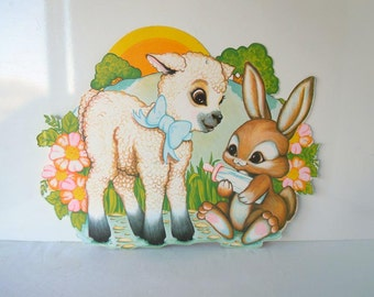 Large Vintage Easter Decorations Beistle Decor Spring Lamb Bunny Rabbit