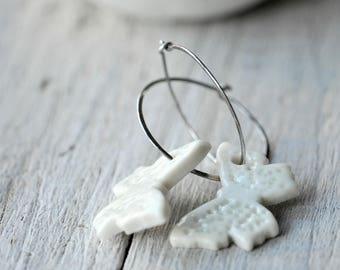 White Butterfly Earrings, Sterling Silver Hoops, Porcelain Clay