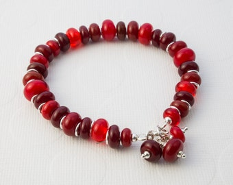 Red Lampwork and Silver Bracelet