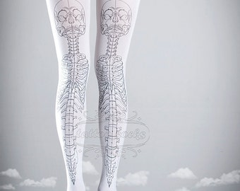 Skeleton tattoo tights, medical anatomy illustration black and white full length printed tights, pantyhose, nylons, tattoo socks