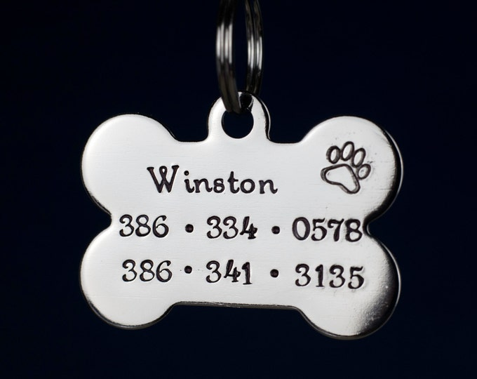 "Bone Dog Tag - 1.5"" Stainless Steel Bone Shaped Tag  - Hand Stamped pet ID Tag"