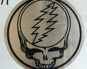 "Grateful Dead Steal Your Face Sticker 3.5"" silver metallic  sticker. Deadheads  show your love and put this on your car! Jerry Garcia, SYF"