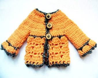 "PDF crochet pattern for 13"" doll clothes - Roseline Chéries cardigan - fits Les Cheries and H4H dolls + one bonus free pattern"