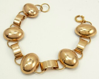 Mid Century Rose Gold Plated Link Bracelet
