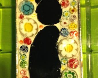 Left facing Black cat mosaic pendant  with millifiori background