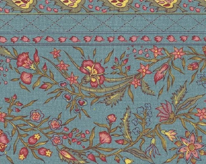 Dutch Chintz Border Fabric - Provence Pale Blue 7 inch - half (1/2) yard