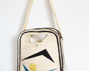 Vintage wicker straw bag market tote