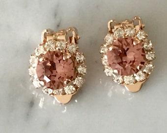 Blush Rose & Clear Swarovski Crystal Clip On Earrings, Rose Gold