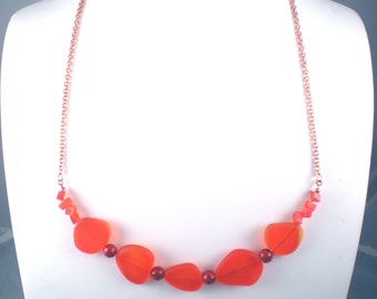 SALE Sea Glass Tangerine Necklace with Copper Chain and Glass Beads