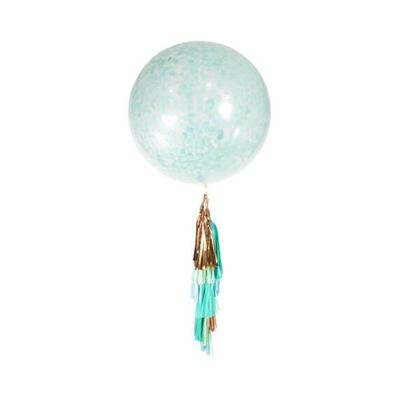 """36"""" Hello World Balloon, Giant Clear Balloon, Confetti Balloon, Tassel Balloon, First Birthday Neutral Baby Shower Balloon, Mint Baby"""