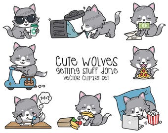 Premium Vector Clipart - Kawaii Wolf - Cute Wolf Planning Clipart - Even More Wolves - Instant Download - Kawaii Clipart