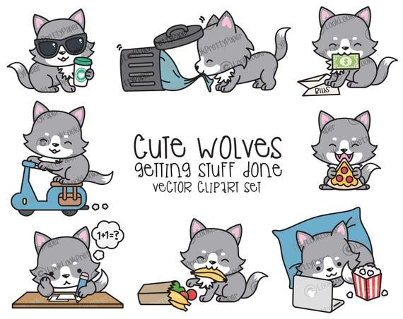 Premium Vector Clipart Kawaii Wolf Cute Wolf Planning
