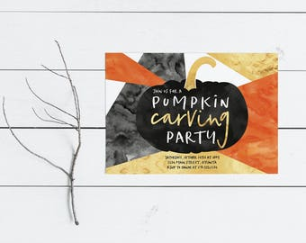Halloween Party Invitation- Pumpkin Carving- Costume Party- Birthday Party- Boy or Girl- Haunted House- Gold- Watercolor- - Print Yourself