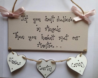 Personalised Auntie Plaque , With personalised hearts Lovely gift, any colour of ribbon