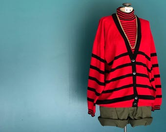 90s Grunge Striped Pullover Turtleneck Slouchy Sweater Red Black Oversized Sweater Grunge Sweater Striped Knit Cardigan Medium Large