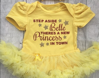 Step aside Belle there's a new Princess in town Baby Girl's Tutu Romper Dress with Bow Headband, Newborn Gift Present Love Disney Princess
