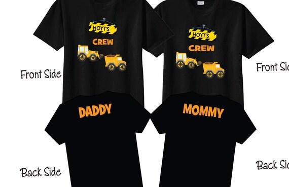 Mom and Dad Matching Birthday Shirts with Construction Theme on BLACK Shirts Birthday Crew Shirts KJYTXm