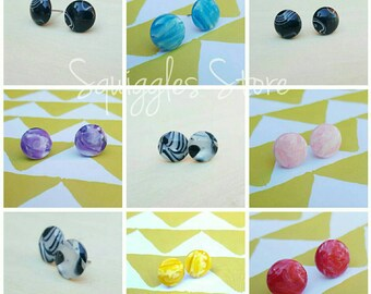 Sale! Marble Hypoallergenic Titanium Stud Earrings Handmade Sensitive Ears 7 Colours