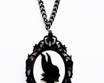 Ornate cameo Maleficent necklace