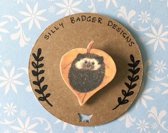 Autumn Hedgehog Shrink Plastic Brooch, Wildlife Jewellery, Bag, coat, Scarf Brooch, Pin, Badge. cute Hedgehog On Leaf
