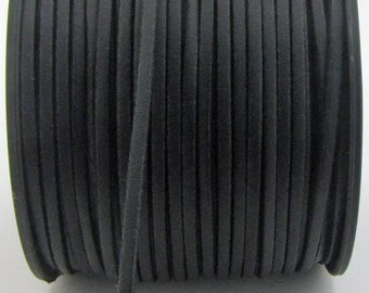 3mm flat faux suede/ leather cord,black,3X1.5mm,1-5yards