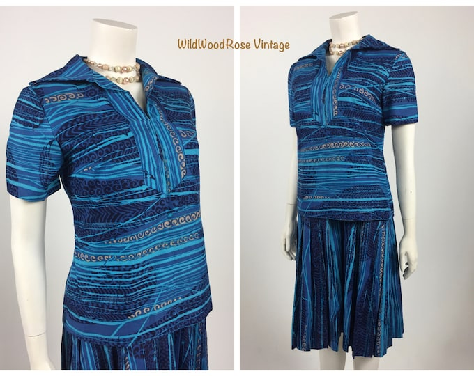 Vintage 1970's Helen Howell Originals Two Piece Dress - Tunic Style Top - Shift with Pleated Skirt - French Cotton Style de Boussac - Sz 8