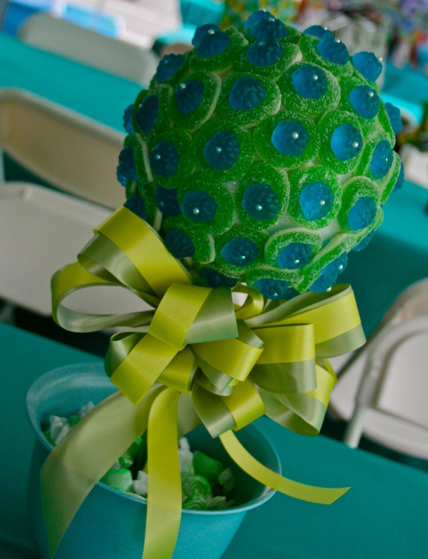 Green Candy Centerpiece : Blue green razberry gummy bear candy land centerpiece topiary